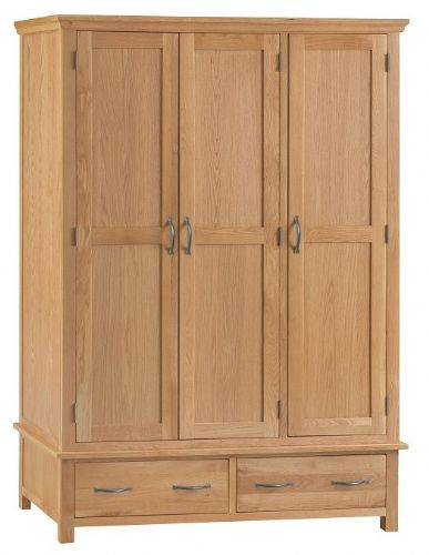 Wimbledon Oak 2 Drawer Triple Wardrobe